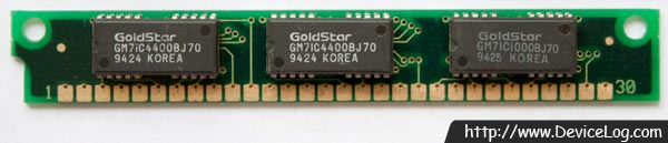 Goldstar 30pin 1MB DRAM SIMM (GM71C4400B + GMC71C1000B) (frontside)