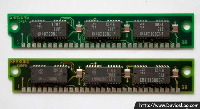 Samsung 1MB DRAM SIMM backside (KMM591000AN-7, KMM591000BN-7) (KM44C1000AJ-7, KM44C1000BJ-7)