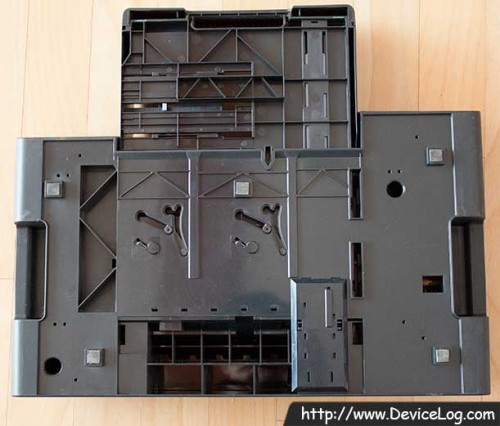 the bottomside of optional duplexer and optional extra paper tray