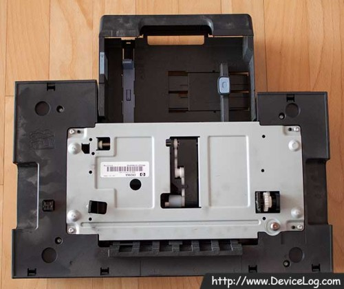 the topside of optional duplexer and optional extra paper tray