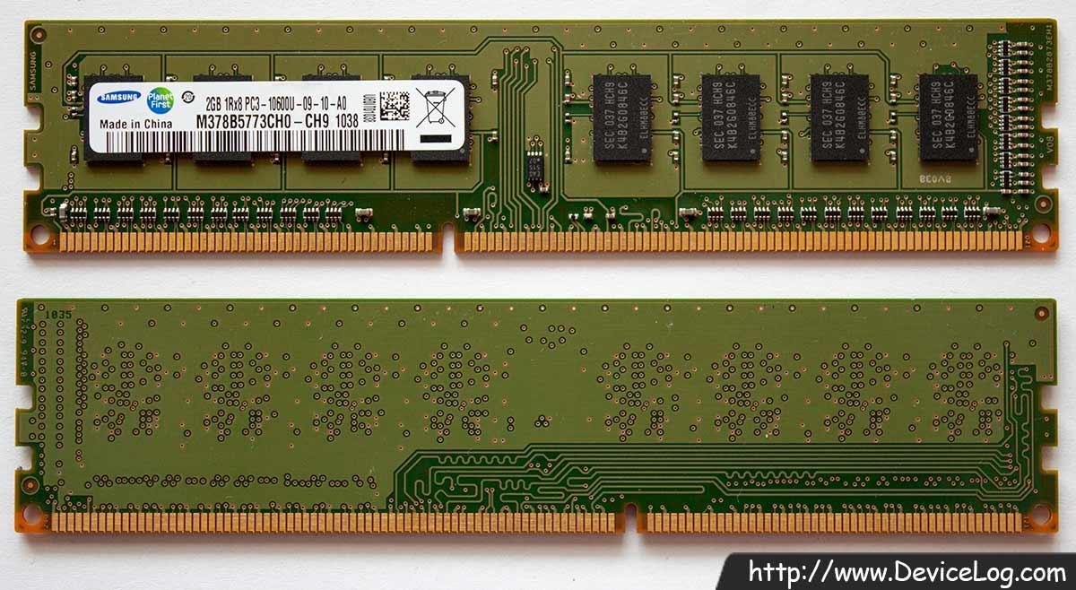 Samsung DDR3 SDRAM 2GB 1Rx8 PC3-10600U-09-10-A0 M378B5773CH0-CH9