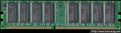 Samsung DDR 512MB PC3200U-30331-B2 CL3 underside (non-genuine RAM)