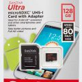 SanDisk Ultra 128GB microSDXC UHS I Card with Adapter